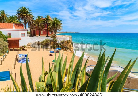 Agave plant in foreground and beautiful beach in Armacao de Pera coastal town, Algarve region, Portugal - stock photo
