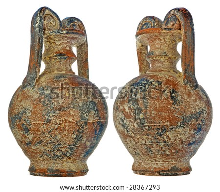 age-old amphora with bloom of salt and gypsum in a brown color - stock photo