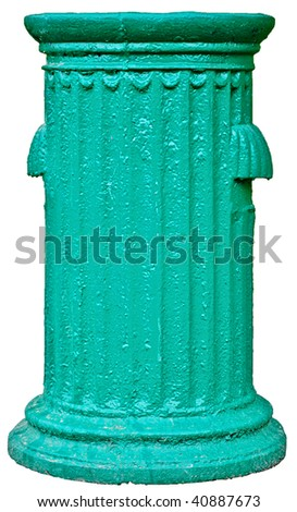 age-old cast-iron trash urn of green color - stock photo