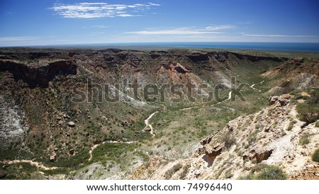 Age old dried creek that carved the gorges in Cape Range National Park, Western Australia. - stock photo