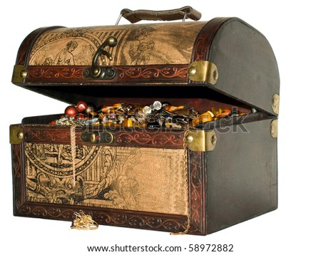 Age-old trunk with valuables - stock photo