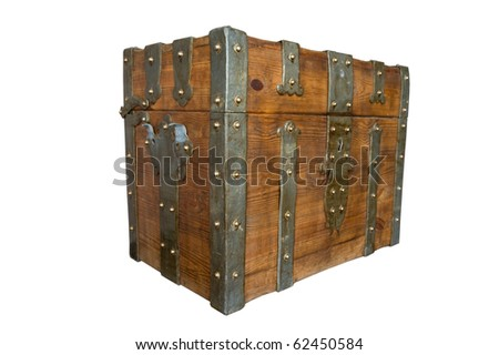age-old wooden trunk, metal-plate. isolated on white - stock photo