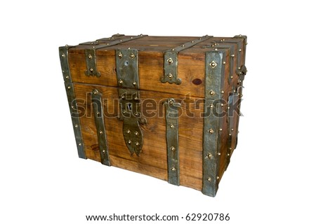 age-old wooden trunk, obbityy metal-plate. isolated on white - stock photo