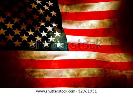 Aged and water damaged old glory flag painted on stone - stock photo