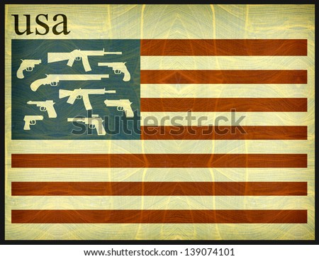 aged and worn graphic design with american flag with guns - stock photo