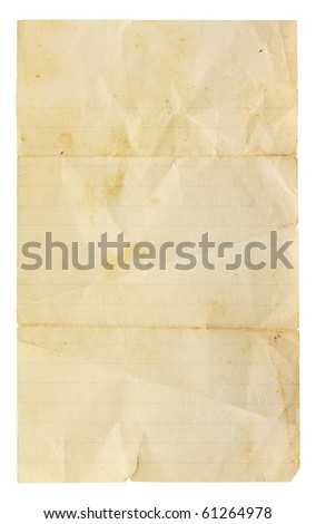Aged and worn lined paper with creases, tears and wrinkles. Completely blank with room for text or images. Includes clipping path. - stock photo