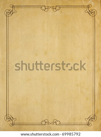 Aged and worn paper with abrasions, and creases and moderately ornate border in black ink, but page is otherwise blank with room for text or images. - stock photo