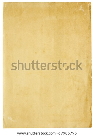 Aged and worn paper with abrasions, creases and rough edges. Blank with room for text or images. Isolated on White. Includes clipping path. - stock photo