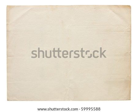Aged and worn paper with creases and wrinkles. Completely blank with room for text or images. Includes clipping path. - stock photo