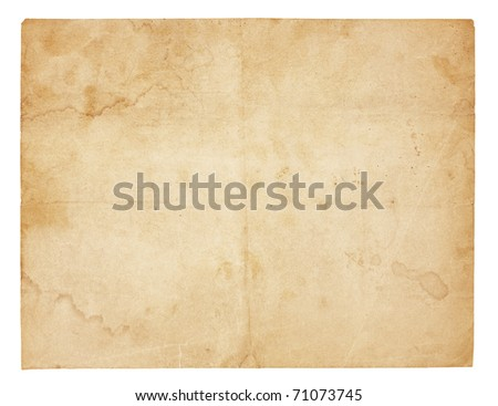 Aged and worn paper with creases, stains and smudges. Isolated on white. Includes clipping path. - stock photo
