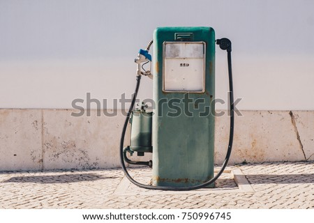 Aged and worn vintage gas oil pump