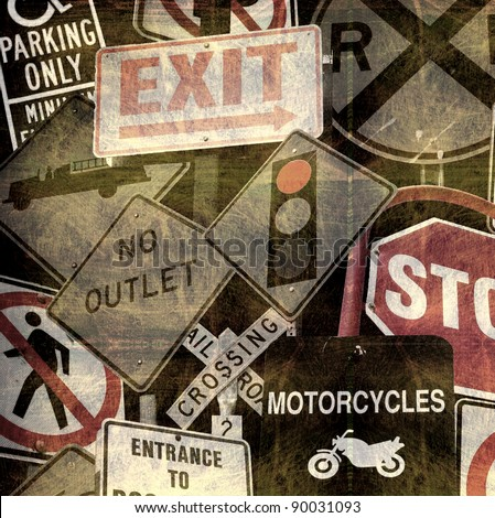 aged and worn vintage photo of a collection of road signs - stock photo