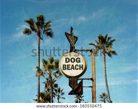 aged and worn vintage photo of dog beach sign - stock photo