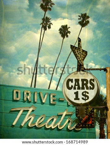 aged and worn vintage photo of drive in theater and dollar sign                                - stock photo