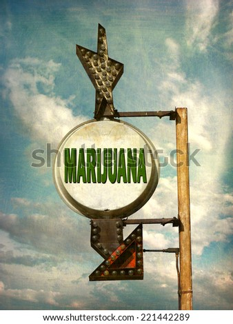 aged and worn vintage photo of marijuana sign - stock photo