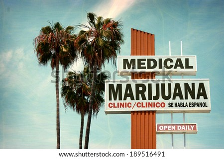 aged and worn vintage photo of medical marijuana clinic with palm trees - stock photo