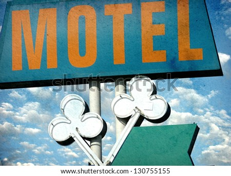 aged and worn vintage photo of motel sign - stock photo