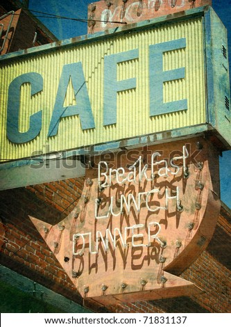 aged and worn vintage photo of old abandoned cafe and neon sign - stock photo