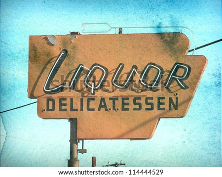 aged and worn vintage photo of retro neon liquor store sign - stock photo