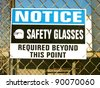 aged and worn vintage photo of safety glasses required sign - stock photo