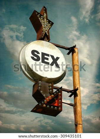 aged and worn vintage photo of sex sign - stock photo