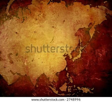 aged asia map-vintage artwork - stock photo