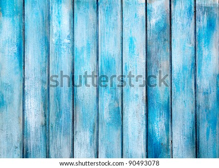 aged blue painted grunge wood texture background - stock photo