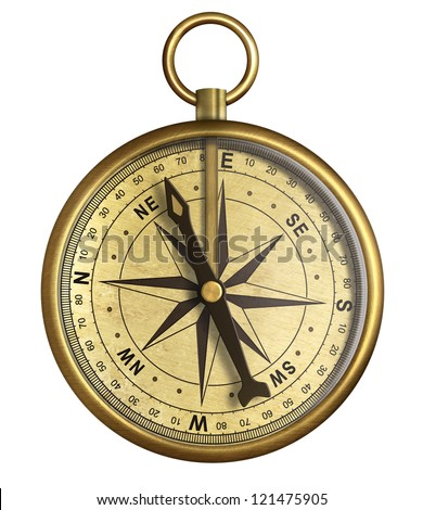 aged brass antique nautical pocket compass isolated on white - stock photo