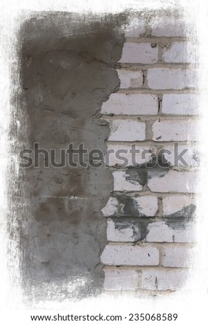 Aged brick and cement wall - stock photo