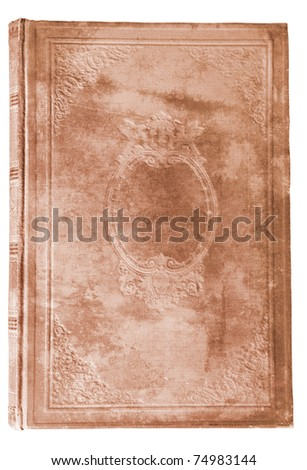 aged brown book cover with interesting texture isolated on white background - stock photo