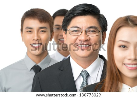 Aged businessman in focus isolated - stock photo