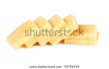 aged cheese, sliced isolated on a white background