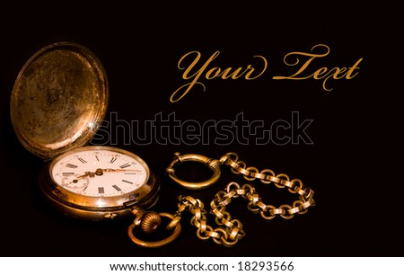 aged clock on black - card with free space - stock photo