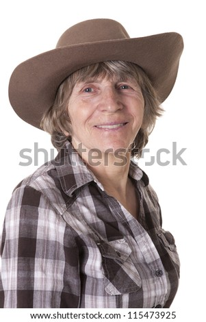 aged cowboy woman portrait in studio on white background