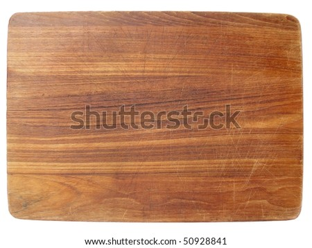 aged dark chopping board out of wood - stock photo
