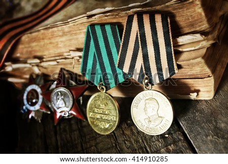 aged effect medals world war great composition - stock photo