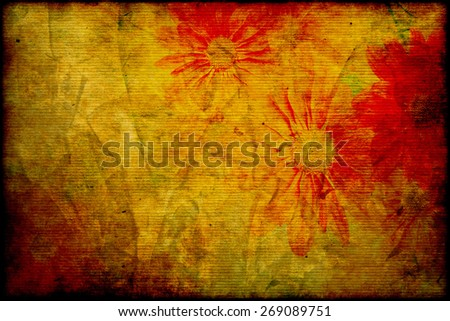aged elegance flower paper background texture for your message  - stock photo
