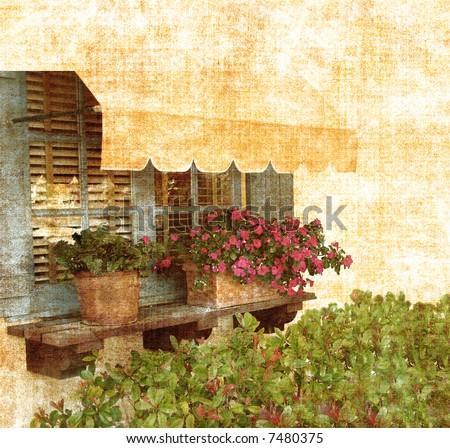 Aged Garden Window Vintage Grunge From Photograph - stock photo