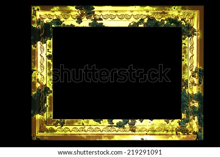 aged golden frame, grunge frame - stock photo