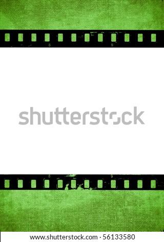 Aged green film strip background - stock photo