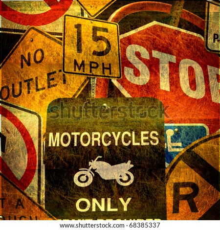 aged grunge photo collage of traffic signs - stock photo