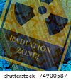 aged grunge radiation zone collage background - stock photo