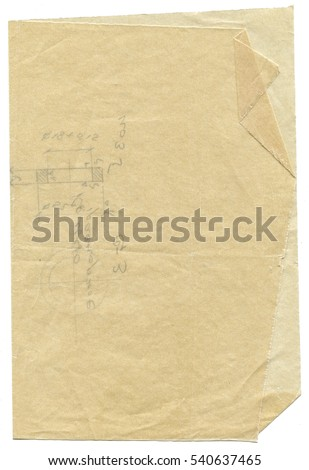 aged grunge vellum paper isolated on white background