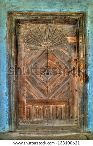 aged grunge wood vintage door, museum Uzhhorod, Ukraine - stock photo