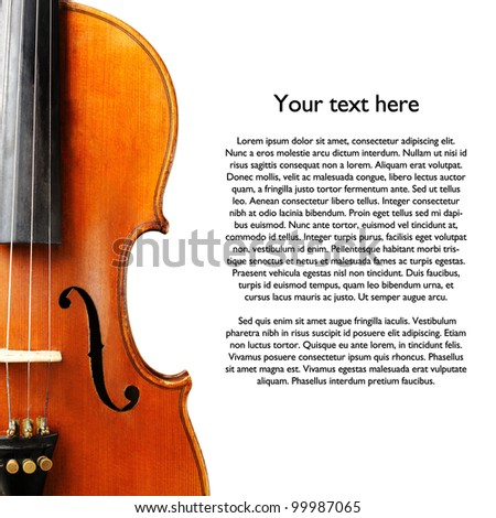 aged handmade violin isolated on white background - stock photo