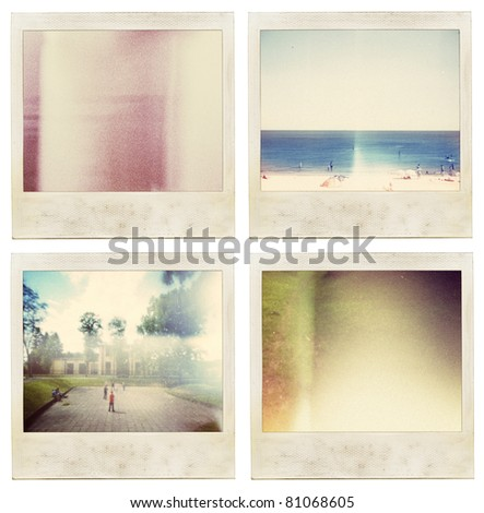 Aged instant film set. May use as vintage photo background. - stock photo