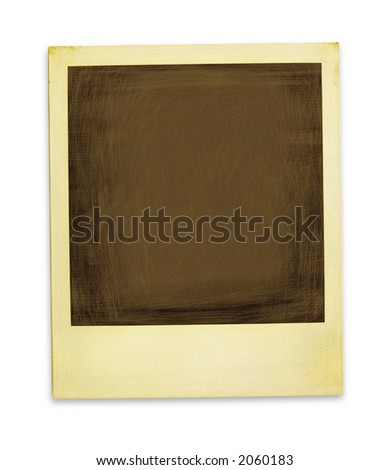 Aged instant photo (with clipping path for easy background removing if needed) - stock photo