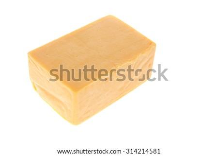 aged italian deli fresh cheddar cheese isolated over white background - stock photo