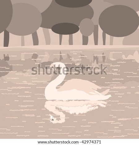Aged like filter effect illustration background with swan on a lake