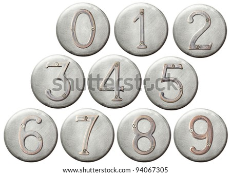 Aged metal numbers on a round metal plate - stock photo